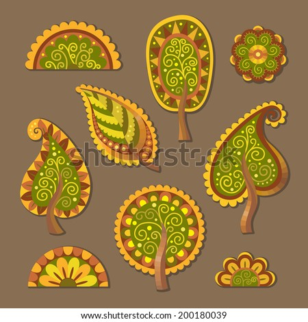 Decorative flat style vector trees floral set - stock vector