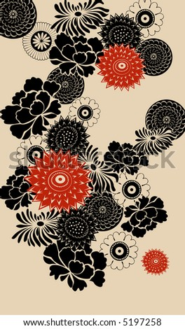decorative floral background- red and black elements - stock vector