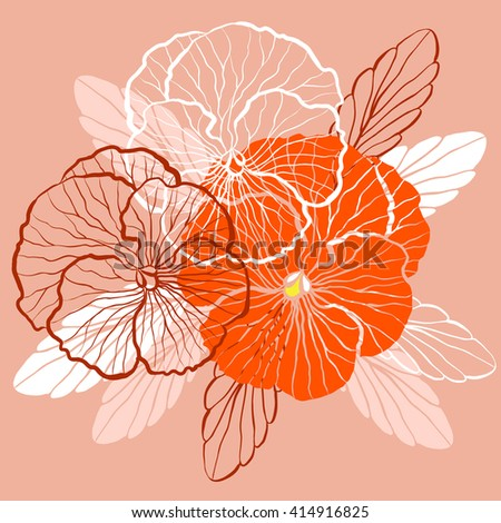 Decorative floral background with flowers of pansy - stock vector