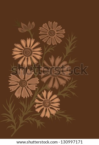 Decorative floral background with  six flowers - stock vector