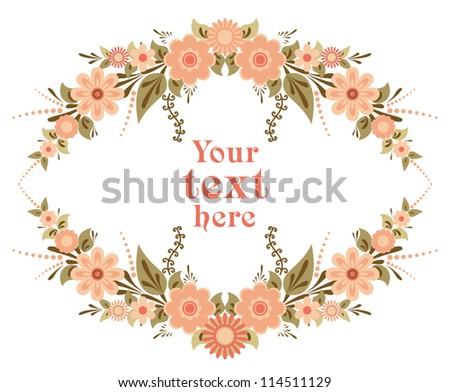 Decorative floral card template for design with place for text - stock vector