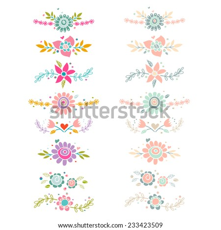 Decorative floral collection. Cute vector compositions.  - stock vector
