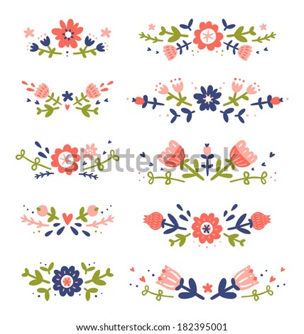 Decorative floral compositions collection - stock vector