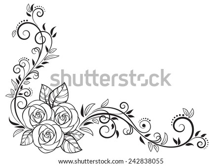 Decorative floral element with roses, isolated on white background. Vector Illustration  - stock vector