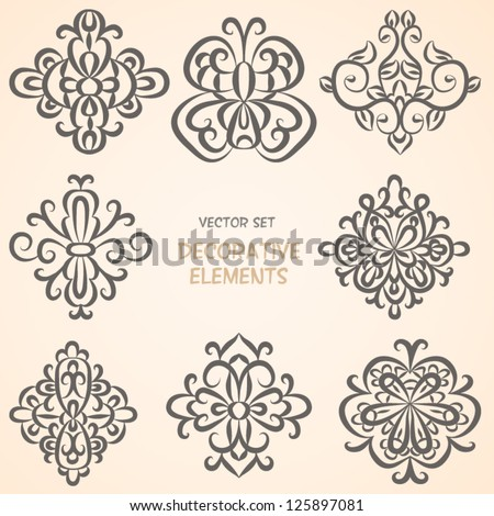 Decorative floral elements. Can be used for backgrounds, packaging, invitations,vintage cards, wrapping paper. Design elements - stock vector
