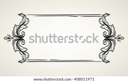 Decorative floral frame with hand drawn leaves. Decorative horizontal border with stylized leaves. Floral graphic contour frame. Drawing on a tablet. - stock vector