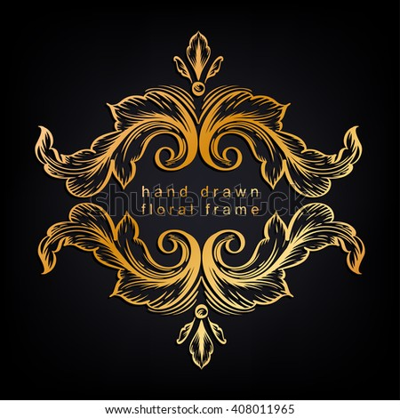 Decorative floral frame with hand drawn leaves. Horizontal golden frame with central copyspace for your text. Acanthus contour  leaves drawing on a tablet. - stock vector
