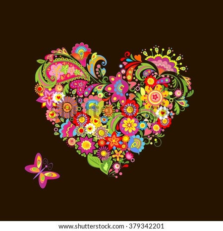 Decorative floral heart shape