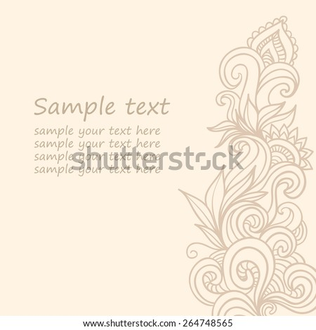 Decorative floral invite card. Vector illustration background. - stock vector