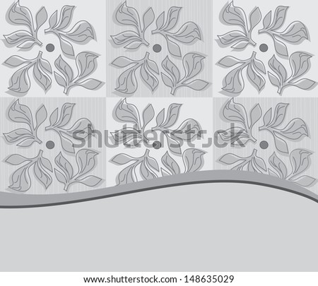 Decorative floral on a gray background with flowers - stock vector