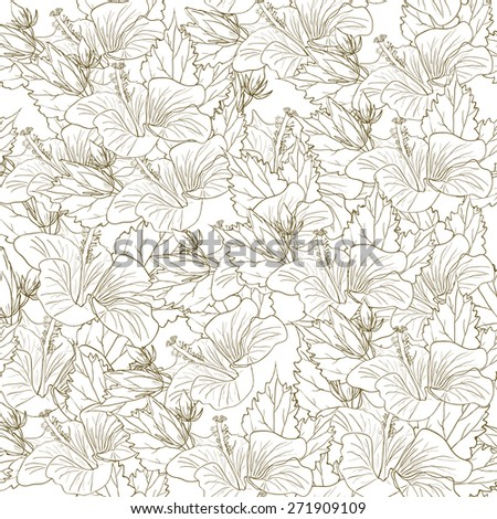 Decorative floral pattern with flowers of hibiscus. eps 10 - stock vector