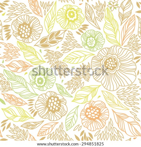 Decorative floral seamless background pattern in bright colors. Vector illustration - stock vector
