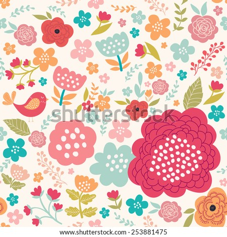 Decorative floral seamless pattern in bright spring colors. - stock vector