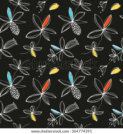 Decorative floral seamless pattern. Vector fantasy background with drawn flowers - stock vector