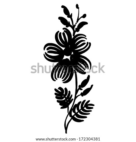 decorative floral silhouette - stock vector