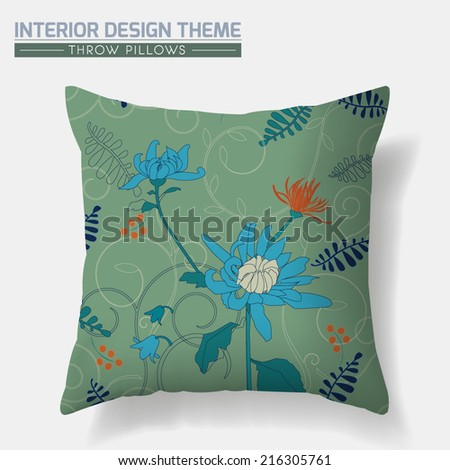 Decorative Floral Throw Pillow design template. Original Chrysanthemum pattern in green tints is complete, masked. Interior design element. Creative Sofa Toss Pillow Vector design is layered, editable - stock vector