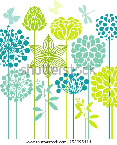 Decorative flowers - stock vector