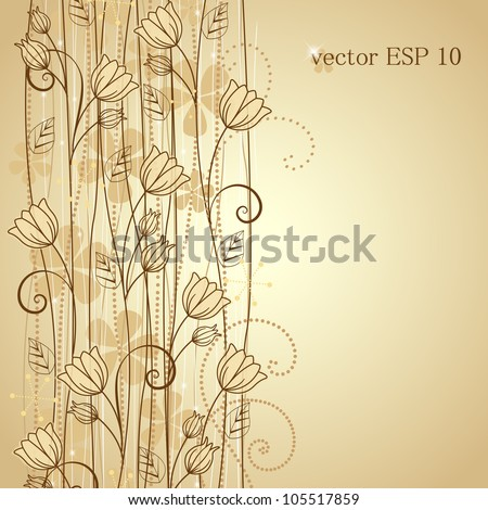 decorative flowers background with place for text - stock vector
