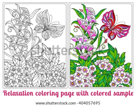 Decorative flowers, birds and butterflies. Coloring book for adult and older children. Coloring page with colored sample. Outline drawing. Vector illustration. - stock vector