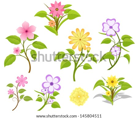 Decorative Flowers Collection - stock vector