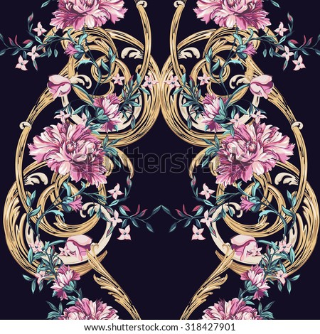 decorative flowers with barocco pattern on a dark background - stock vector