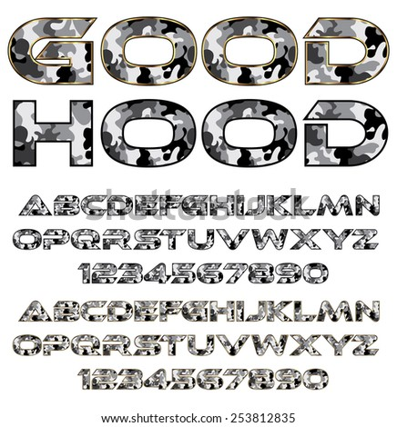Decorative font - camouflage pattern letters