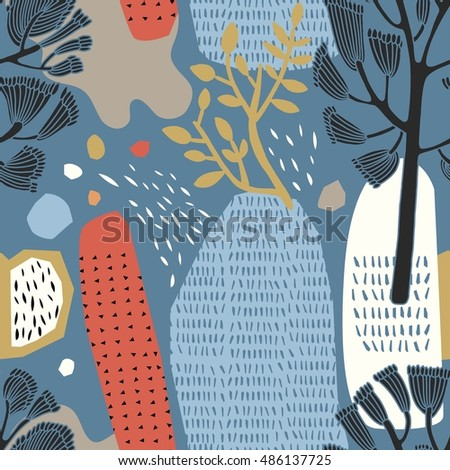 Decorative forest in vector, seamless pattern