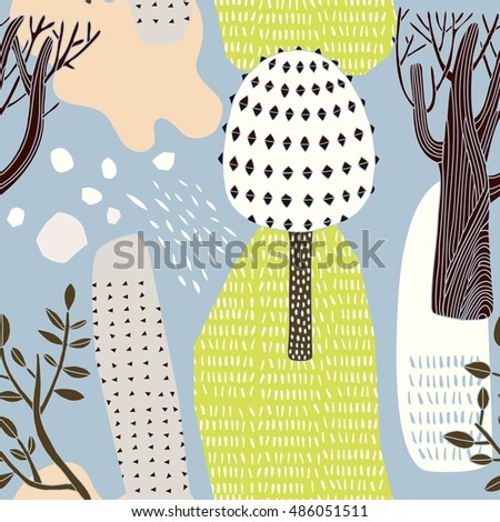 Decorative forest, vector illustration