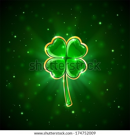 Decorative four-leaf clover on green background, illustration - stock vector