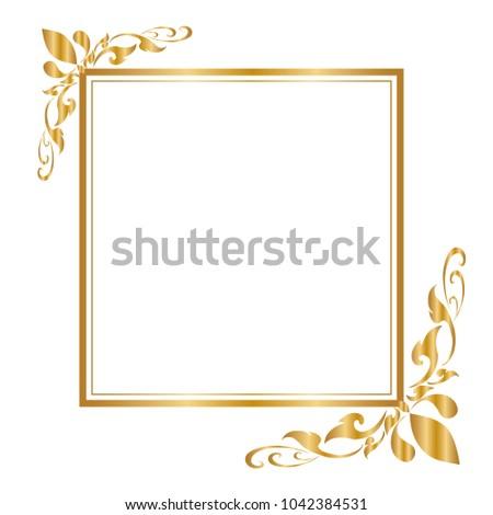 gold frame border png. Brilliant Border Decorative Frame And Border  Square Golden On White Background  Vector Illustration On Gold Frame Border Png