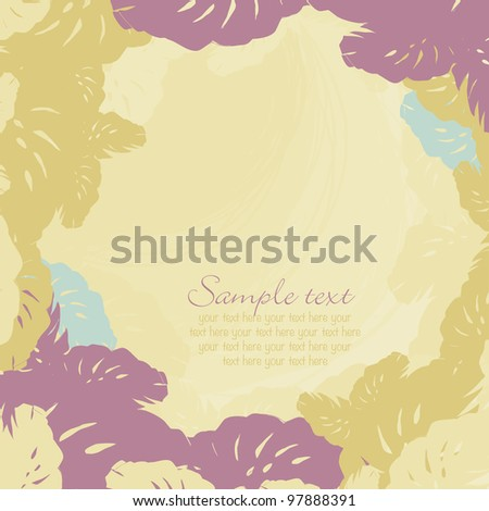 decorative frame of leaves of tropical - stock vector