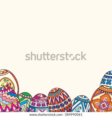 Decorative frame of painted Easter eggs. - stock vector