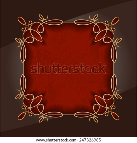 Decorative frame on a red background - stock vector