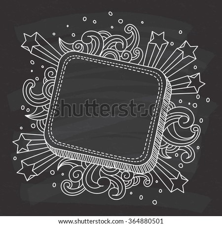 decorative frame on chalkboard background