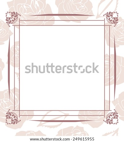 Decorative frame on seamless background with stylized roses. Vector - stock vector