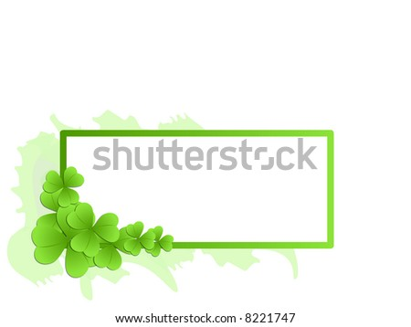 Decorative frame with clovers - vector illustration - stock vector