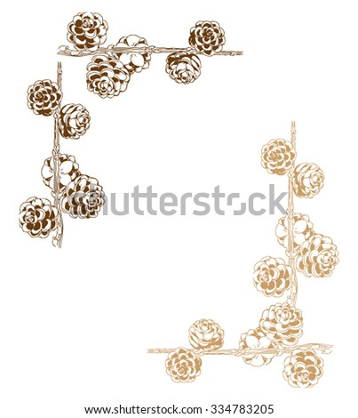 decorative frame with fir cones - stock vector