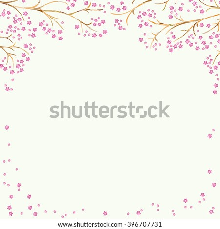 Decorative frame with flowering branches. Hand-drawn and painted. Vector graphics.
