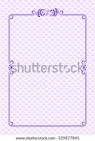 Decorative frame with swirls and leaves on light decorative background. Template for diplomas, book covers, certificates. A4 page format. Background pattern is included in the file.