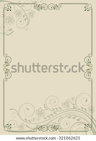 Decorative frame with swirls and leaves. Template for diplomas, invitations and certificates. A4 page format. - stock vector