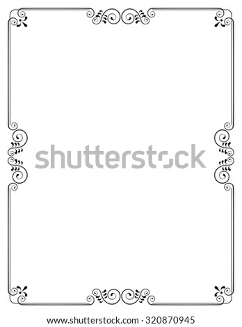 Decorative frame with swirls and leaves without background. Template for invitations and certificates. Letter page format.