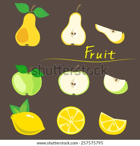 Decorative fruit, apple, pear, lemon on a background,cutting stage, vector illustration. - stock vector