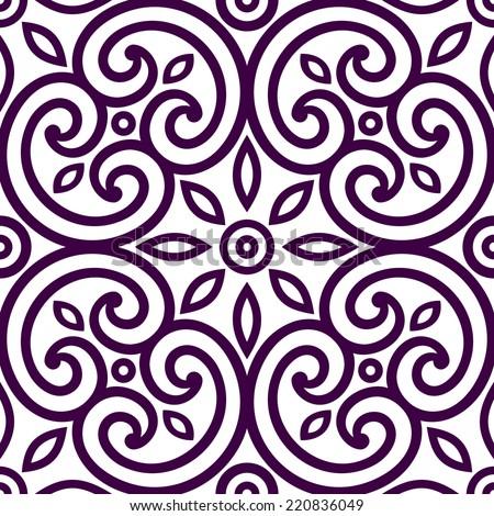 Decorative geometric seamless ornament, tile of fabric decor, Italian background pattern, vector - stock vector