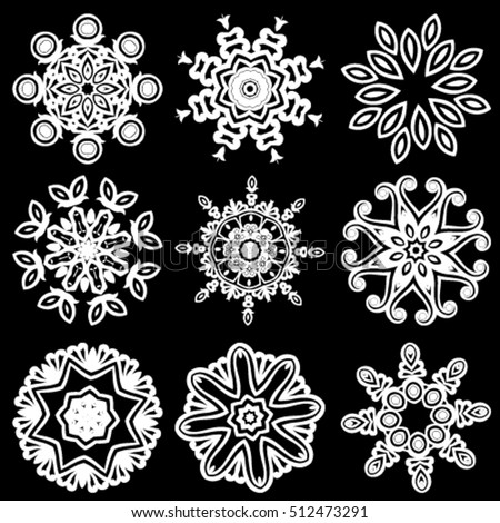 Decorative geometric snowflakes mandala icon isolated for card, Vector mandala in black and white. For invitation, scrapbook, banner, postcard, tattoo, yoga, boho, magic or flyer. Vector illustration.