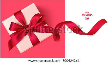 Decorative gift box red bow long 600424361 decorative gift box with red bow and long ribbon happy womens day text top negle Gallery