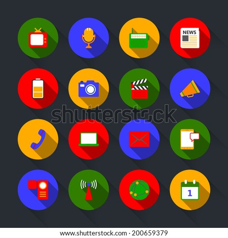 Decorative global social media communication mobile technology microphone device icons set flat solid isolated vector illustration