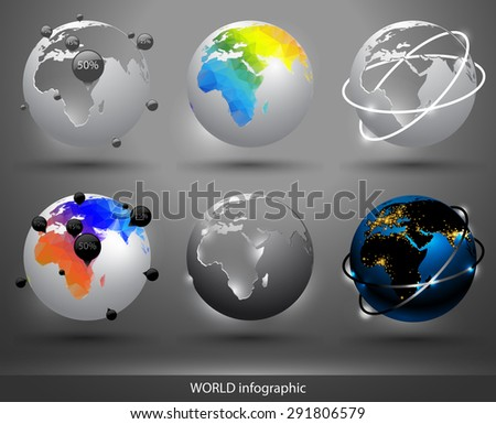 decorative globe with silhouettes of continents in different colors