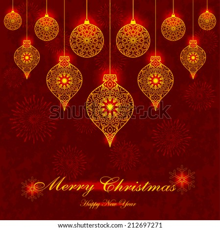 Decorative Glowing Christmas Ornaments on Grunge Red Background
