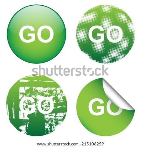 Decorative GO Signs - stock vector