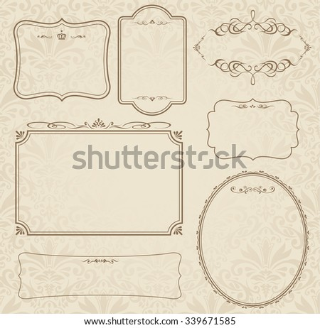 decorative gold frame set Vector  - stock vector